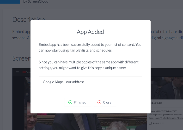 Embed app our address