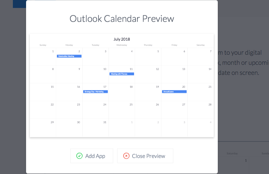 ScreenCloud Outlook Calendar App Guide - ScreenCloud