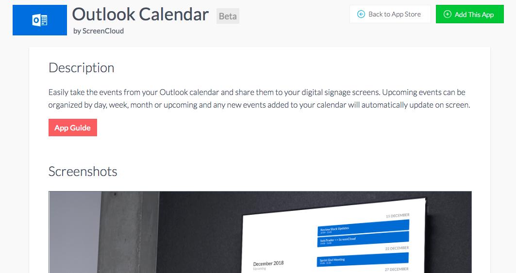 ScreenCloud Outlook Calendar App Guide - ScreenCloud