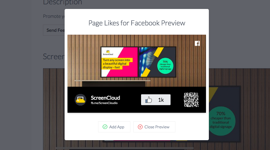 ScreenCloud Facebook Page Likes App Guide - ScreenCloud