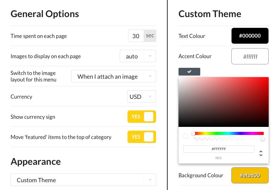 customize digital menu board app